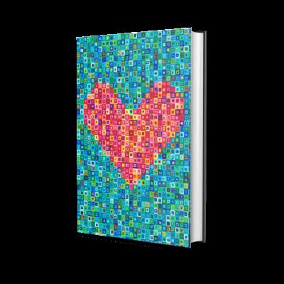 Notizbuch rotes Herz auf türkisem Untergrund