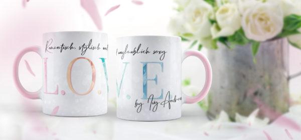Süße Tasse zur L.O.V.E.-Reihe von Ivy Andrews